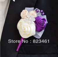 Free Shipping Handmade Beautiful Ribbon Groom Boutonniere Wedding Rose Brooch Flower Wedding Corsage