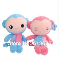 Free Shipping 1pc 2014 New cute Cute little cartoon monkey lovers plush toy doll pillow small size 35cm doll birthday gift