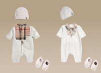 2013 Free shipping Retail 100% cotton 2014 New Fashion Baby bodysuits +Hat+socks 3 pcs set baby rompers Clothing Set For Newborn