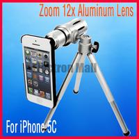12X Zoom Metal Aluminum Camera Phone Telescope Lens +Mini Tripod +Back Case for iPhone 5C,Free Shipping &Drop Shipping!