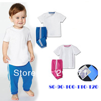 New arrival 2013 baby clothing sets Wholesale boy and girl sport sets/shirt+pants/baby wear/kids clothing/baby clothes 5sets/lot
