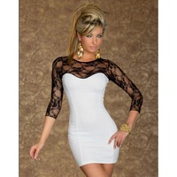 new plus size fashion dress women's long sleeve black vintage lace bodycon dress women