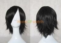 80 см чёрные прямые парики для косплея