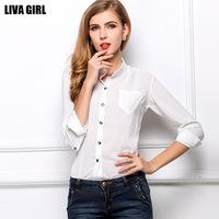 New 2014 HOT Chiffon Blouses Fashion OL Shirts Long Sleeve for Women Summer Autumn Button Pocket Fashion Officer Free shipping