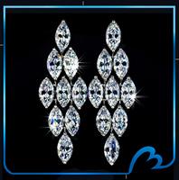 Fashion Long Zircon Earring Platinum Plated Marquise Cut CZ Earrings Fashion Bridal Wedding Engagement Valentine gift earring