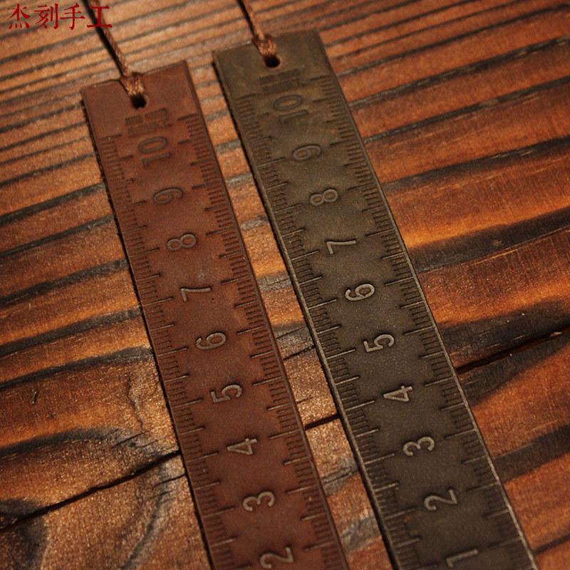 Handmade handmade bookmark dual pattern vintage cowhide genuine leather bookmark(China (Mainland))