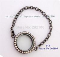 5pcs 30mm Magnetic floating locket Bracelets Rhinestone Round shape floating charm locket Free shipping