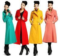 Spring autumn winter woman candy color  slim maxi coat ankle length coat oversize coat x-long wool blends coat M-XXL