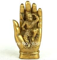 Shipping   15cm Chinese Tibetan Buddhist Bronze Statue Monkey King In Buddha Hand Brass Carvings 0.47kg