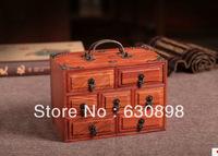 "7.8"" Swartzia spp Three-layer Wooden Jewelry Box Antique Technique Chinese Handmade Birthday Wedding Gift"