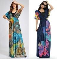 HOT Dress NEW 2014 Europe and America Fashion Women Dresses V-neck Long dress Summer dress Butterfly Print Sexy Beach dress