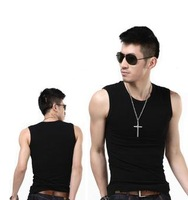 Wide shoulder vest male summer tight-fitting cotton sports fitness male underwear  cotton sleeveless