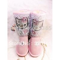 2014 winter children Snow boots waterproof genuine leather boots pearl rhinestone hello kitty shoes australian sheepskin boots