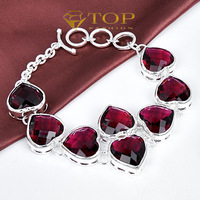Top fashion new arrival jewelry Heart-shaped Novel 925 sterling silver plated jewelry Garnet bracelet  for women