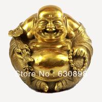 Shipping        Chinese Tibetan Buddhist Brass Statue Laughing Maitreya Buddha Copper Statue Bronze Sculpture