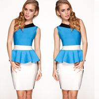 Top Brand 2014 Sexy Lady Slash Neck Mini Dress Fashion Tight Fitting Sleeveless Bnadage Dress