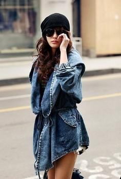 Washed Джинса jacket big hat Модный autumn coat FT355