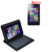 New Original Genuine Official Bluetooth Wireless Keyboard Leather Case Cover + matte Screen Protector For Lenovo Miix2 8""