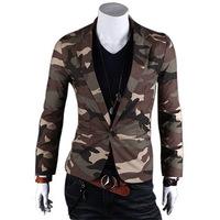 Men's Blazers,New Men's Fashion Camouflage Military Cotton Slim blazer Color:GrayArmy Green Size:M-XXL