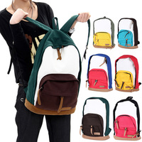 Unisex Fashion Vintage Casual Men Women Girl Travel Canvas Backpack Satchel Color Block School Bag Schoolbag Satchel Rucksack