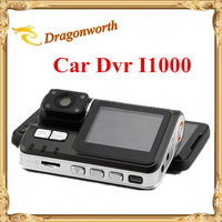 1pcs/lot HD 720P Dual Lens Car DVR I1000 G-Sensor + MOV Video Recorders + 120 degree ultra wide angle lens Camcorder Car Camera