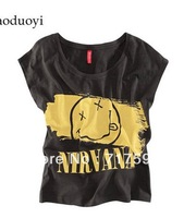 2014 new Nirvana smiley letters printed black T-shirt loose blouse cotton hot sales T shirt
