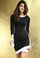 White Trim Bodycon Midi Dress in Black  2951, free shipping to worldwide