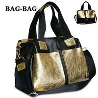 2014 NEW VINTAGE Satchel Color Contrast Genuine Leather shoulder bag Women 100%Cow skin handbag Fashion Cool Girl Wholesale B321