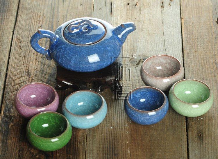 7pcs Exquisite Ice Carck Tea Set Porrtery Teaset A3TB05 Free Shipping