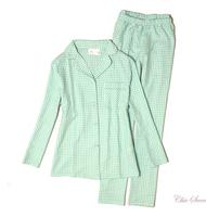 LZ Bpc Women 100% cotton yarn dyed flannelet plus size spring and autumn lounge sleep set