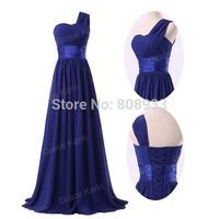 2014 Fast Delivery! GK Modest Women One Shoulder Bling Long Blue Prom Dresses CL6022