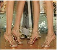 2014 summer women's sexy gold Czech crystal high-heeled shoes,OL Formal dress sandals,party shoes