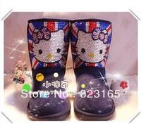 winter children Snow boots waterproof genuine leather boots cute rhinestone hello kitty shoes australian sleepskin boots