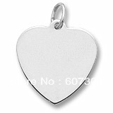 hot selling plain heart charms love gold and rhodium plated 50 pcs a lot free shipping