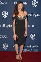 2014 Free Shipping Sheath Cap Sleeves Sweetheart Crystal Beads Nina Dobrev Inspired Sexy Black Celebrity Dress Short