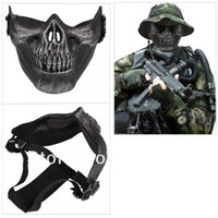 Free Shipping  Skull Skeleton Airsoft Paintball Half Face Protect Mask #HW215