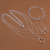 Free Shipping 2014 New Arrivals 925 Silver Jewelry Sets Top Quality Guaranteed Hearts Necklace Bracelet earring Set S424
