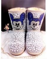 winter women Snow boots waterproof genuine leather boots pearl rhinestone MICKEY MOUSE boots australian sheepskin boots