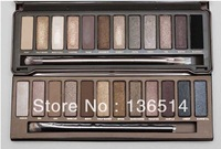 Drop Shipping ! 2pcs Naked 1 and 2 palette 12 Color Eyeshadow , 12 Colors Eye shadow with brush 12x1.3g ( 2 pcs /lot)