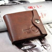 Brand men's wallet leather with Flip up ID Window brown wallet