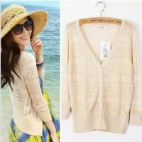 2014 New Spring Summer Women casual Sweet Candy Color Knitted Blouse Sweater Cardigan  Free drop shipping