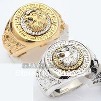 FREE SHIPPING>> R069 Fashion Cool Lion Eagle Star Ring 18K GP