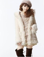 Women Fashion Hooded Turn-down Collar Full Sleeve Solid Beige Tassel Decor Tops Thick Fur Coat Free Shipping S203A-2-5007