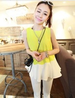 Women Fashion Round Neck Sleeveless Color Block Ruffles Hem Loose Tops Chiffon Shirt Free Shipping S218-1580
