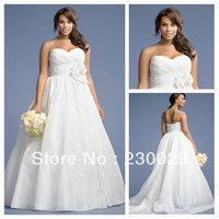New Arrival 2014 Popular White/Ivory Sweetheart Pleated Ruffle Taffeta Luxury Wedding Dresses With Big Handmade Flower B14049