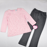 Free shipping 4sets/lot girl spring autumn fashion girl suit  solid pink long sleeve tiered t shirt + grey long pant