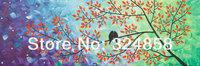 Handmade Painting Artwork Love Birds Tree Landscape Oil Painting On Canvas Palette Knife Modern Painting Home Decor Wall Art 024