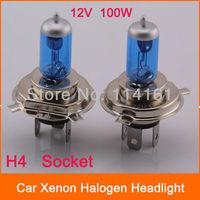 2pcs/lot Super White 100W Halogen lamp Brand New Car Headlight Bulbs H4 Interface Car Light Xenon HID 12V