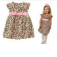 free shipping baby tutu dress baby girl's leopard dress size 90-120 girl's dress girl's leopard summer dress