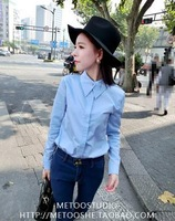 Women Fashion Turn-down Collar Full Sleeve Single Beading Decor Solid Slim Waist Tops Shirt Free Shipping S218-1702